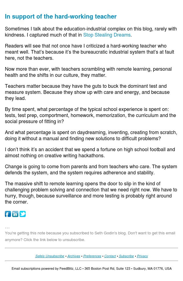 Seth's Blog : In support of the hard-working teacher