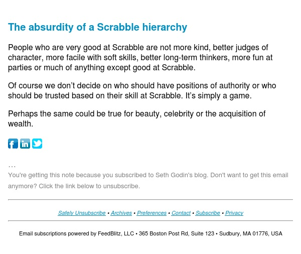 Seth's Blog : The absurdity of a Scrabble hierarchy