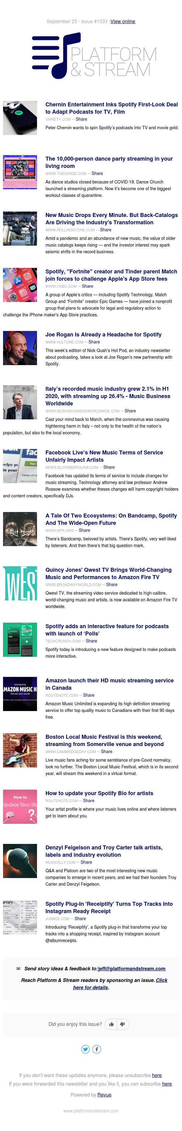 Spotify, Chernin Ink Deal to Adapt Podcasts for TV, Film; Streaming Boosts Italy's Music Biz; Back-Catalogs Driving the Industry's Transformation
