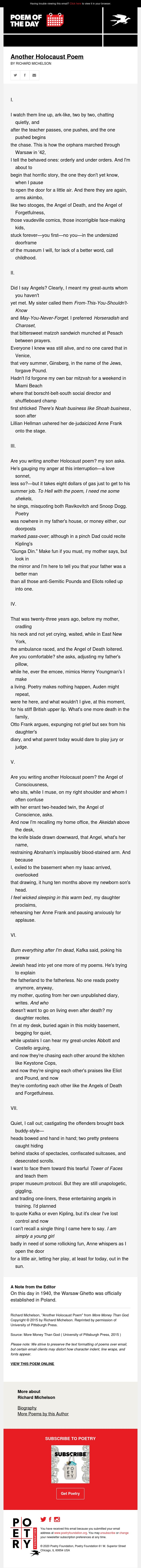 Poem of the Day: Another Holocaust Poem