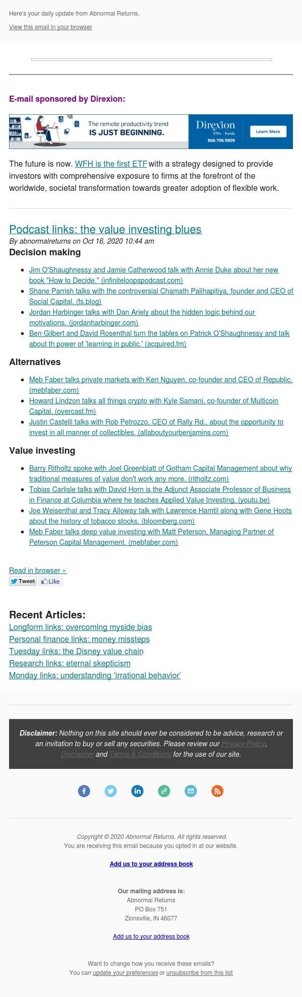 📈📉Posts from Abnormal Returns for 10/16/2020