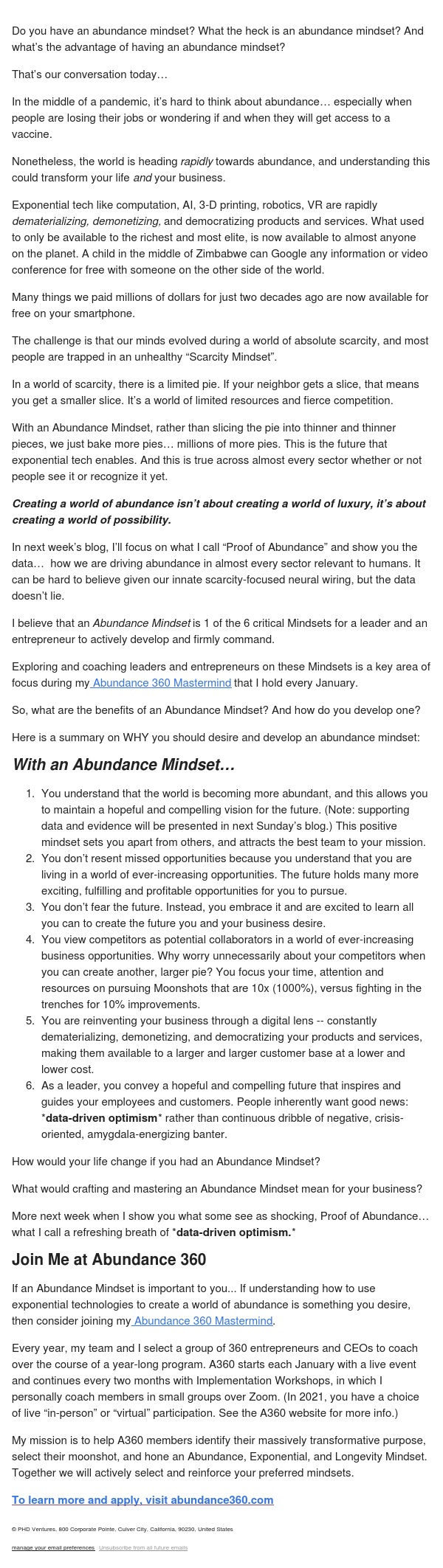 Why an Abundance Mindset?