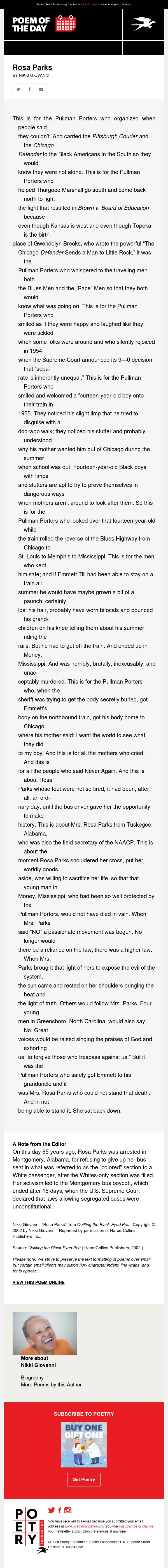Poem of the Day: Rosa Parks